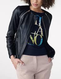 armani exchange faux leather zipper moto moto jacket for women a x