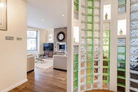 Interior Glass Block Partition Decoration With Solar Mirror Above