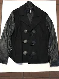 details about international concepts peacoat leather sleeves men macys