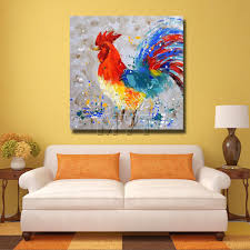 Wall Art Paintings For Living Room Aliexpresscom Buy Artist Painted Chicken Wall Art Home