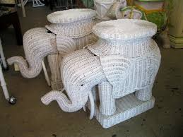 Pair of Vintage Wicker Elephant Side Tables 3134 & 3135