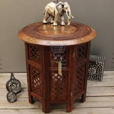 Indian Style Coffee Table Small Side Table Wooden Round Coffee Lamp End Brown Hand Carved