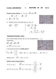 a level mathematics p vectors in 3d