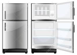 閉じた状態と開いた扉イラストと冷蔵庫