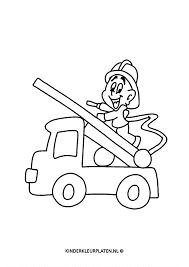 Kleurplaat Brandweerman Ladderwagen Beroepen