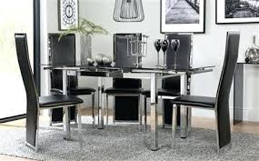 black dining room furniture space chrome black glass extending dining table with 6 black chairs black