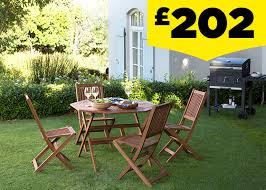 austin wooden 4 seater octagonal garden furniture set