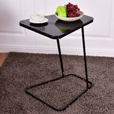 goplus modern glass top end table accent side snack coffee sofa portable black c shape accent coffee table24