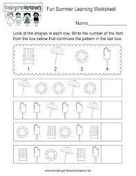 Summer Worksheets For Kindergarten Summer Coloring Worksheets ...