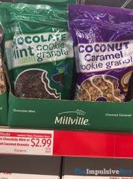 millville chocolate mint and coconut caramel cookie granola jpg