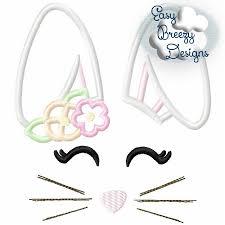 Bunny Face Embroidery Design Bunny Face Girl Applique Embroidery Design Machine Embroidery Files