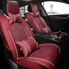 macro cat auto accessories cushion ice silk luxury car cushion four seasons universal seat cover ventilation breathable car premium luxury set 0058 wine red