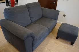 two seater sofa footstool one year old ikea tidafors fabric grey