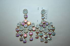 j crew crystal chandelier earrings white 50 00