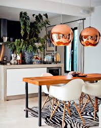 Copper Dining Table Lights Large Copper Pendants Turn This Dining Table Into A Real