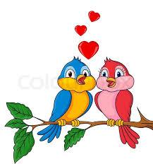 Vector Illustration Of Birds Cartoon With Love Stock Vector Amazing In Love Cartoon
