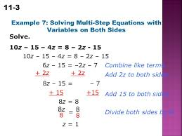 example 7 solving multi step equations with variables on both sides