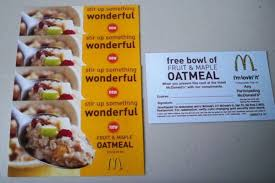 the fabulous people over at mcdonalds are sponsoring this giveaway they are giving away five 5 for a free fruit maple oatmeal