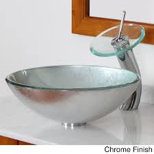 glass bathroom faucets. Elite Modern Tempered Glass Bathroom Vessel Sink With Silver Wrinkles Pattern And Waterfall Faucet C ( Faucets H