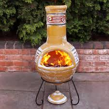 painted chiminea clay outdoor fireplace