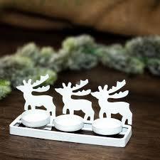 Teelichthalter Rentiere Weiß Weihnachtsdeko