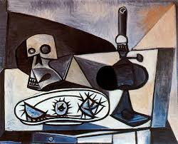skull urchins and lamp on a table pablo picasso