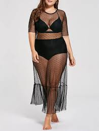 plus size cover up swimwear black 3xl see through plus size cover up dress gamiss