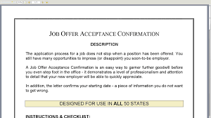 acceptance of job offer letter job offer acceptance confirmation youtube