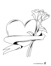 Small Picture Coloring Pages Of Roses And Hearts Heart With Roses Coloring Pages