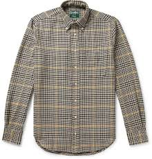 Button Down Collar Houndstooth Cotton Shirt