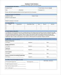 Free 8 Sample Travel Advance Forms Pdf