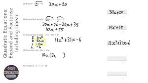 quadratic equations expand and factorise including linear grade 5 onmaths gcse maths revision