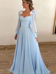 Light Blue Wedding Dress With Sleeves Light Blue Evening Dress With Sleeves