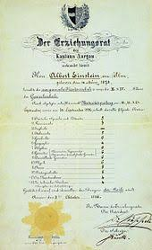 albert einstein  einstein s matriculation certificate at the age of 17 the heading reads the education committee