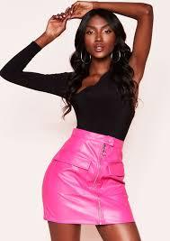 tessa pink faux leather zip mini skirt 1