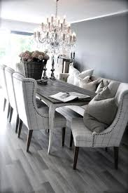 dining room table with upholstered bench. Splendid Dining Sets White Grey Ideas Elegant Room With Upholstered Bench And Chairs Also Rectangular Table Under Crystal Chandelier. A