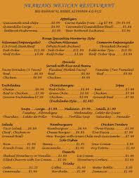 Restaurant Menu | Bisbee, Az - Neariah's Mexican Restaurant & Take Out