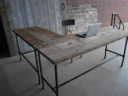 office home office desks wood. office room ideas rustic l shaped unfinish wooden desk with steel pipe table legs and stretcher popular home desks wood