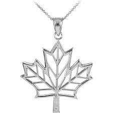 design maple leaf pendant necklace in 9ct