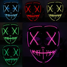 Light Up Mask Us 8 24 45 Off Adults Halloween Led Light Up Mask Halloween Mask Costume Supplies For Festival Masquerade Cosplay Party Halloween Decoration In