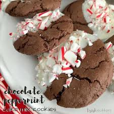 Chocolate Peppermint Cake Mix Cookies Holiday Recipe