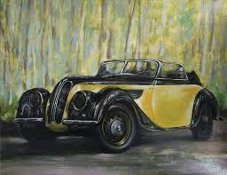 bmw painting old bmw yellow car painted on leather vintage 1938 by vali irina