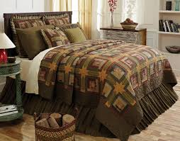 sure to be a favorite in your home is this stunning tea cabin bedding collection from victorian heart eight point stars connect classic log cabin patches