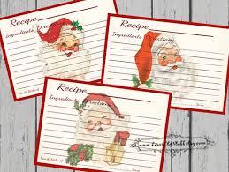 Christmas Recipe Card Christmas Recipe Card Set 4x6 Printable Santa Recipe Cards Etsy