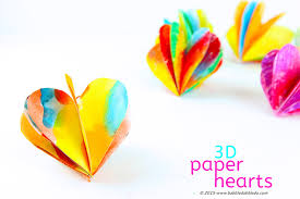 a colorful 3d paper heart craft for