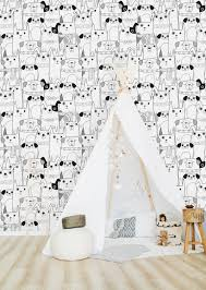 Black and White Dogs Wallpaper-Peel and ...