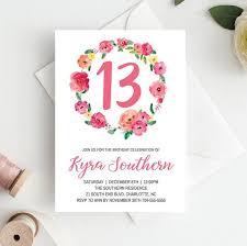 13th Party Invitations 13th Birthday Invitations Girl Floral 13th Birthday Invitation Instant Download 13th Birthday Girl Invitations 13th Birthday Invite For Girl