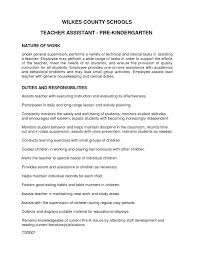 Duties Of A Teacher For Resume Kindergarten Teacher Resume Example Appealing Job Recruitment Letter 17