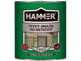 <b>Грунт</b>-<b>эмаль по металлу</b> 3 в 1 <b>HAMMER</b> синяя 2,7кг матовая ...