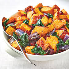 roasted ernut squash with baby spinach cranberries